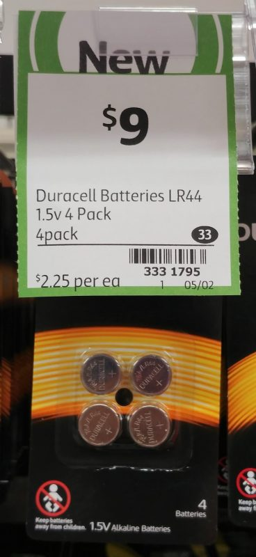Duracell 4 Pack Batteries 1.5v LR44
