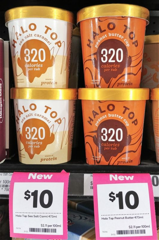 Halo Top 473mL Sea Salt Caramel, Peanut Butter Cup