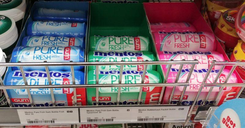 Mentos 30g Gum Pure Fresh Mint, Spearmint, Bubble Fresh