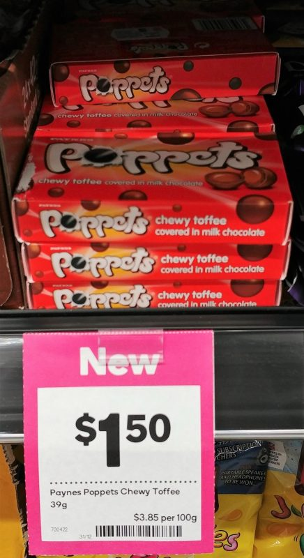 Paynes 39g Poppets Chewy Toffee