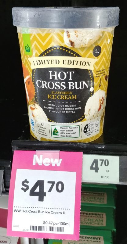 Woolworths 1L Ice Cream Limited Edition Hot Cross Bun Flavoured