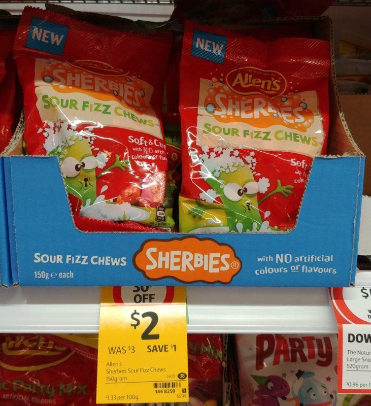 Allen's 150g Sherbies Chews Sour Fizz