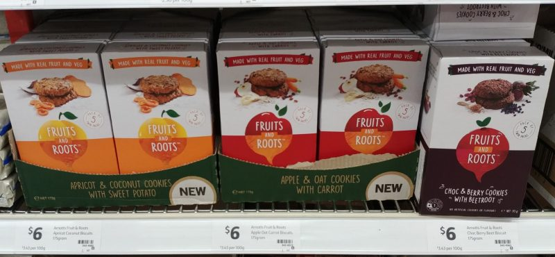 Arnott's 175g Fruits And Roots Cookies Apricot & Coconut With Sweet Potato, Apple & Oat With Carrot, Choc & Berry With Beetroot