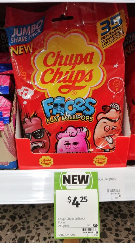 Chupa Chups 210g Lollipops Faces Flat