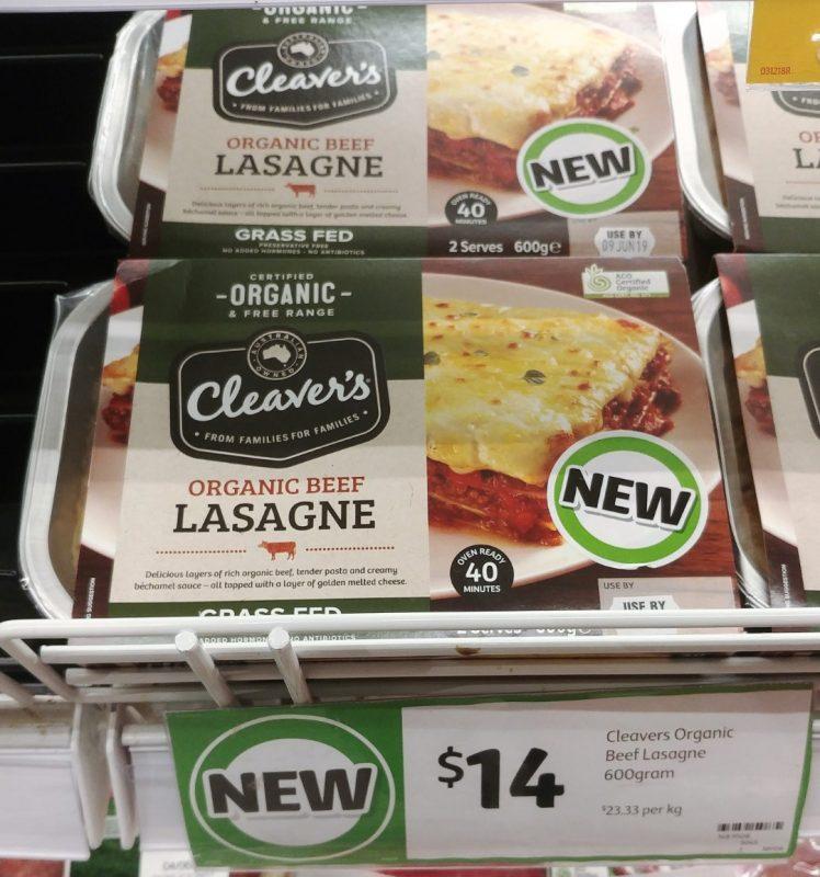 Cleaver's Organic 600g Lasagne Beef