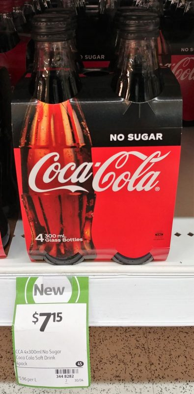 Coca Cola 4 X 300mL No Sugar