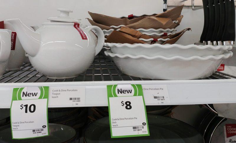 Coles 1 Pack Cook & Dine Porcelain Teapot, Pie Dish