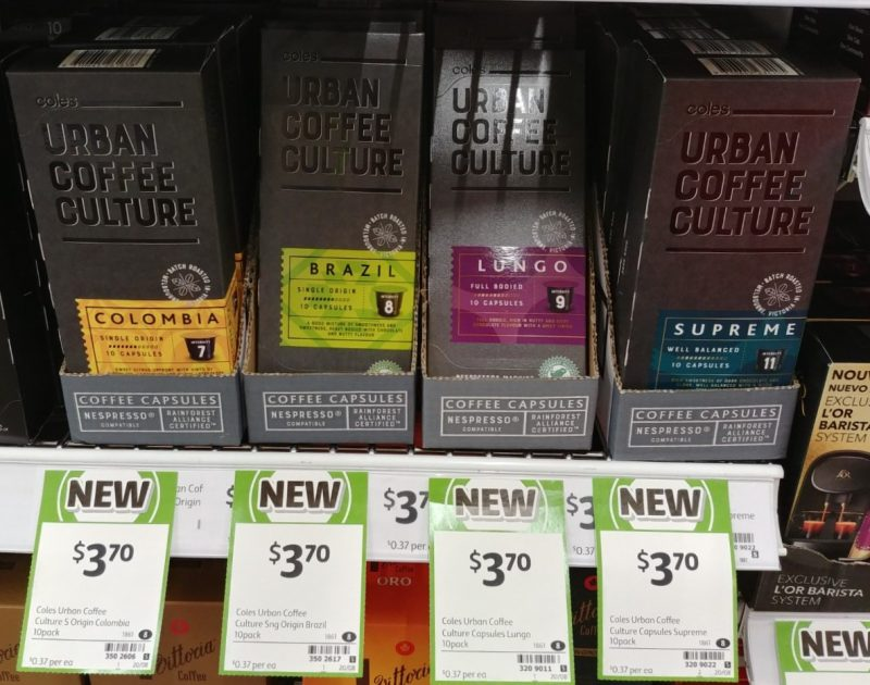 Coles 10 Pack Urban Coffee Culture Coffee Capsules Colombia, Brazil, Lungo, Supreme