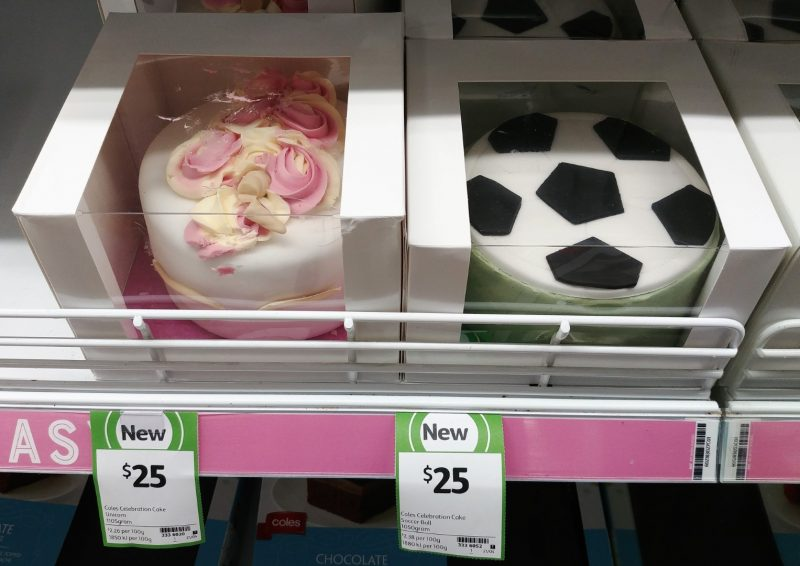 Coles 1050g Cake Celebration Unicorn, Soccer Ball
