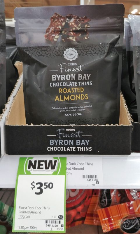 Coles 110 Finest Byron Bay Chocolate Thins Roasted Almonds