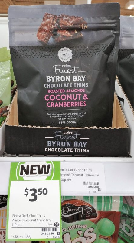 Coles 110 Finest Byron Bay Chocolate Thins Roasted Almonds Coconut & Cranberries