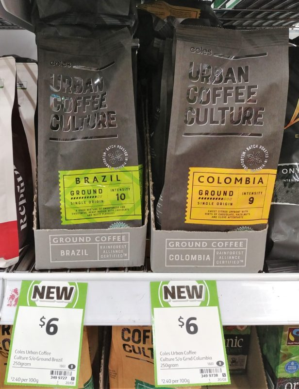 Coles 250g Urban Coffee Culture Ground Coffee Brazil, Colombia