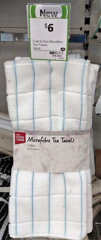 Coles 3 Pack Cook & Dine Tea Towels Microfibre