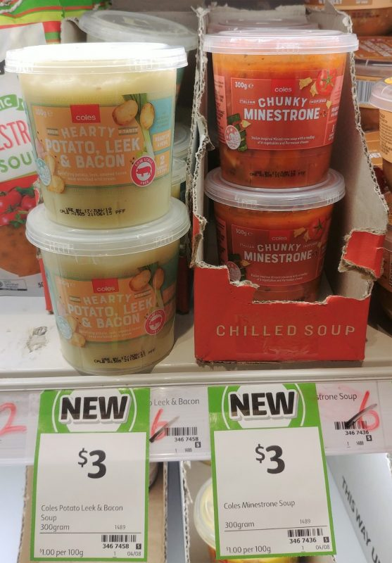 Coles 300g Soup Hearty Potato Leek & Bacon, Chunky Minestrone