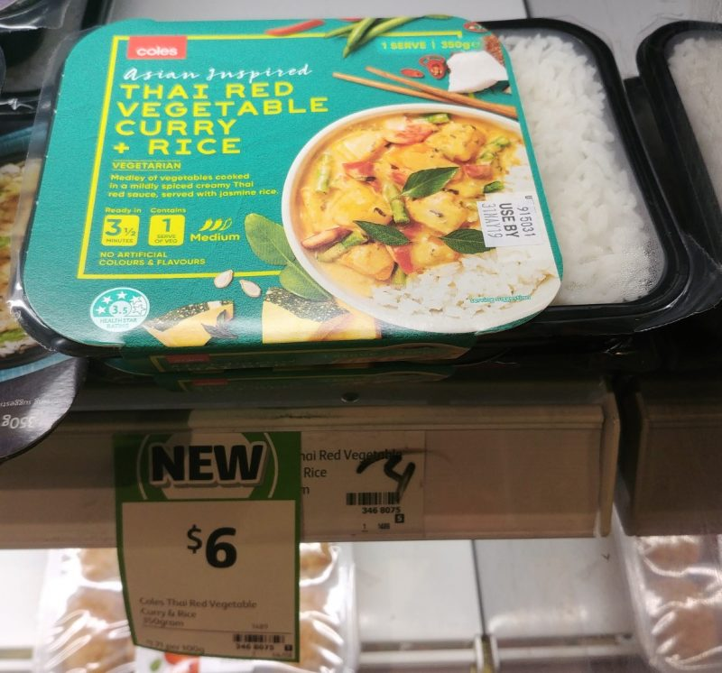 Coles 350g Asian Inspired Curry Thai Red Vegetable + Rice