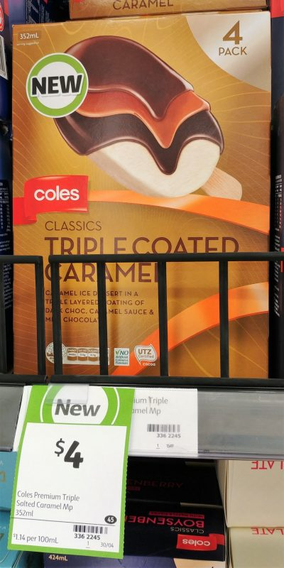 Coles 352mL Ice Dessert Classics Triple Coated Caramel