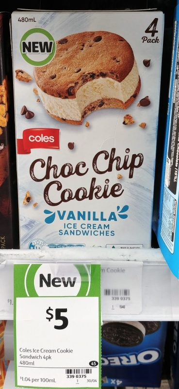 Coles 480mL Ice Cream Sandwiches Choc Chip Cookie