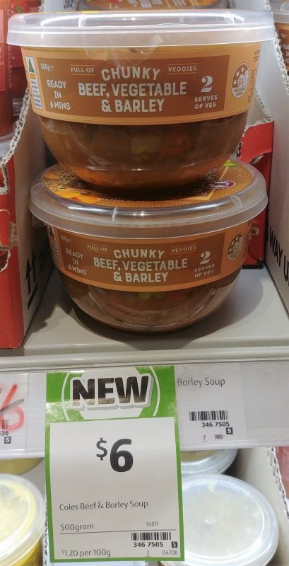 Coles 500g Soup Chunky Beef, Vegetable & Barley