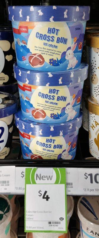 Coles 500mL Ice Cream Hot Cross Bun
