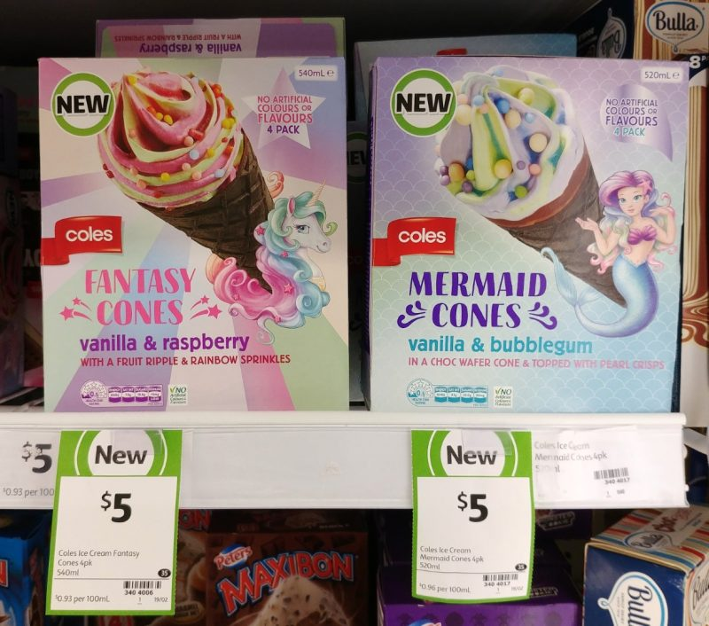 Coles 540mL Cones Fantasy Vanilla & Raspberry, Mermaid Vanilla & Bubblegum