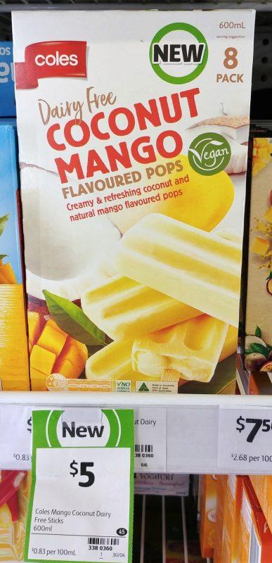 Coles 600mL Flavoured Pops Dairy Free Coconut Mango