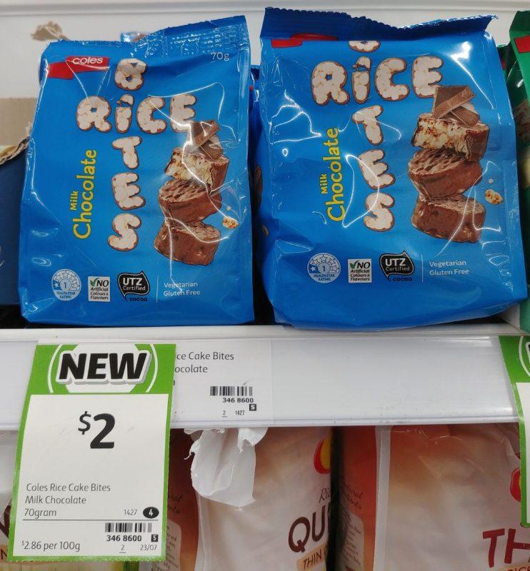Coles 70g Rice Bites Milk Chocolate