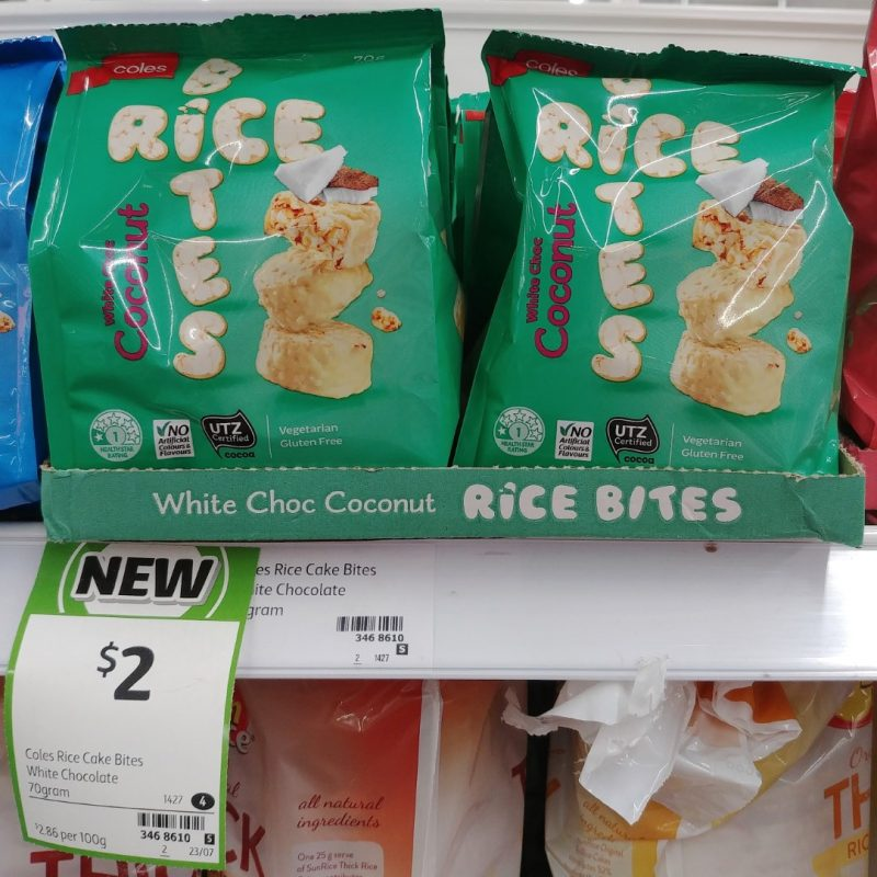 Coles 70g Rice Bites White Choc Coconut