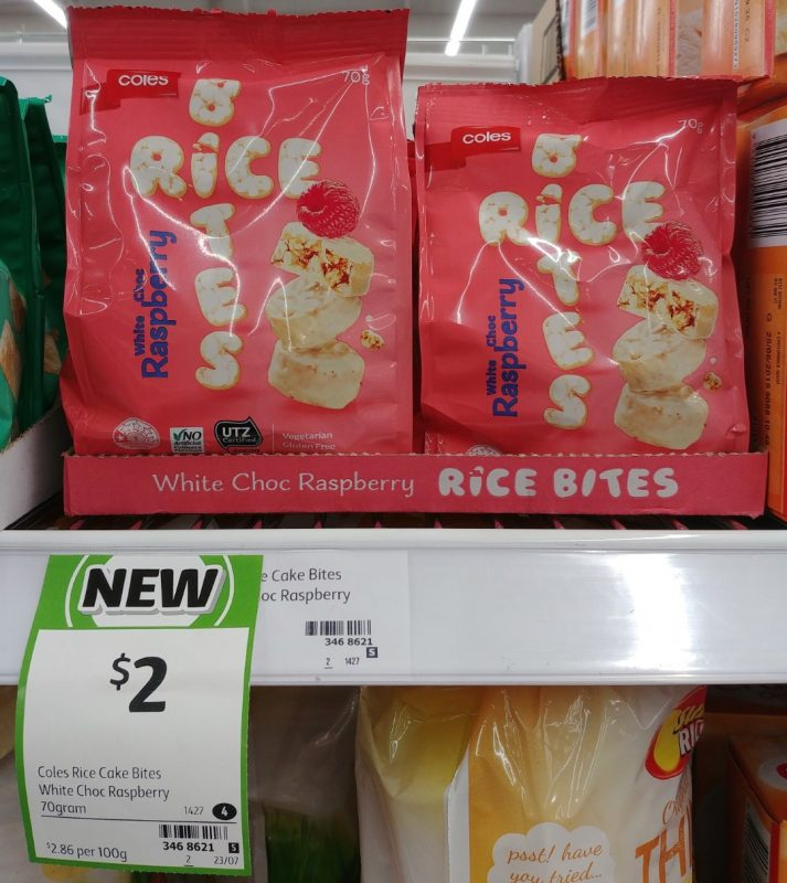 Coles 70g Rice Bites White Choc Raspberry