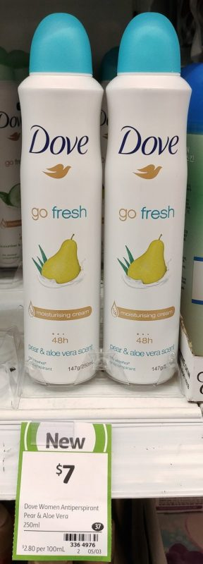 Dove 250mL Go Fresh Antiperspirant Pear & Aloe Vera Scent