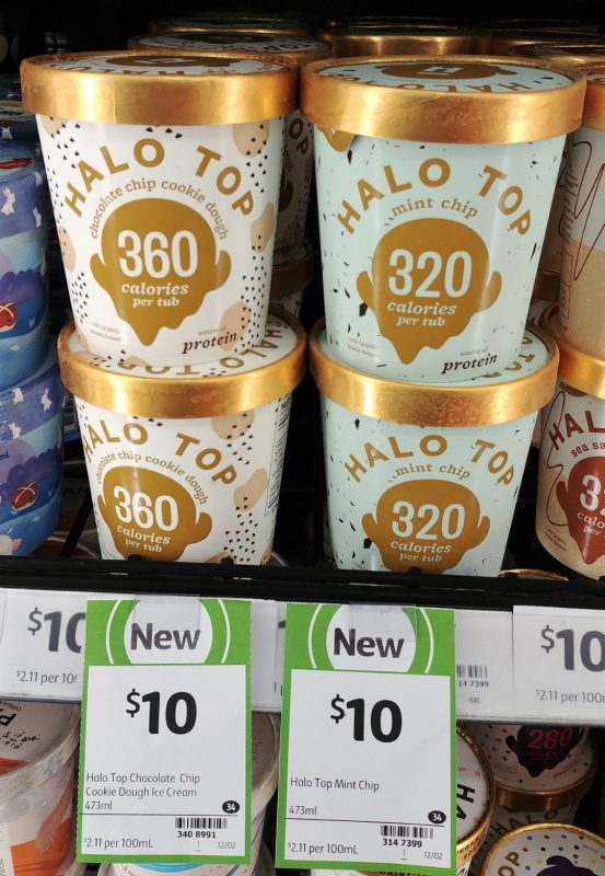 Halo Top 473mL Chocolate Chip Cookie Dough, Mint Chip