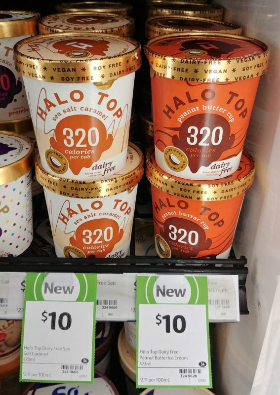 Halo Top 473mL Dairy Free Sea Salt Caramel, Peanut Butter Cup