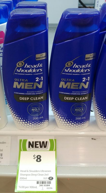 Head & Shoulders 200mL Ultra Men 2in1 Anti Dandruff Shampoo + Conditioner Deep Clean