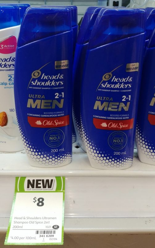 Head & Shoulders 200mL Ultra Men 2in1 Anti Dandruff Shampoo + Conditioner Old Spice