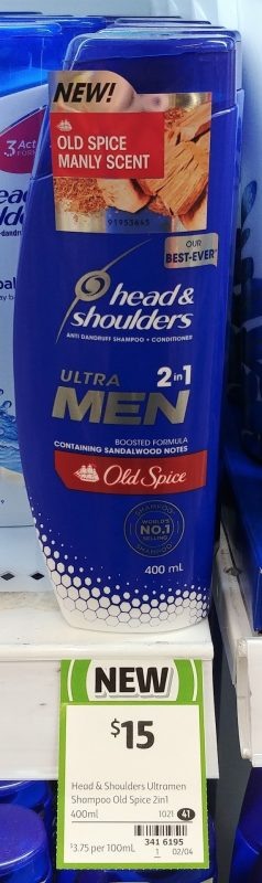 Head & Shoulders 400mL Ultra Men 2in1 Anti Dandruff Shampoo + Conditioner Old Spice