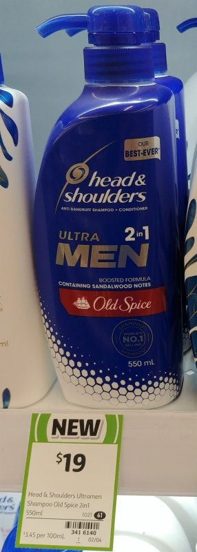 Head & Shoulders 550mL Ultra Men 2in1 Anti Dandruff Shampoo + Conditioner Old Spice