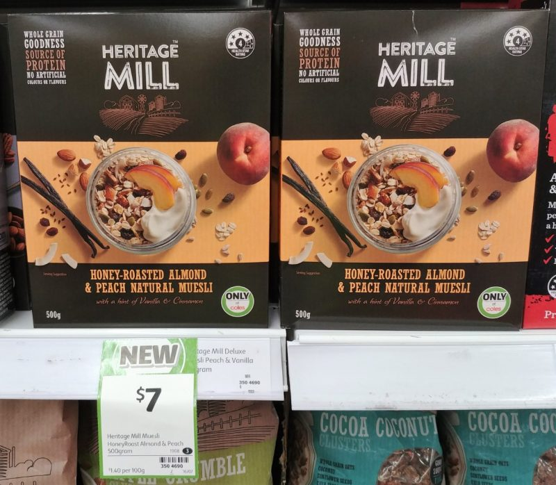 Heritage Mill 500g Muesli Honey Roasted Almond & Peach