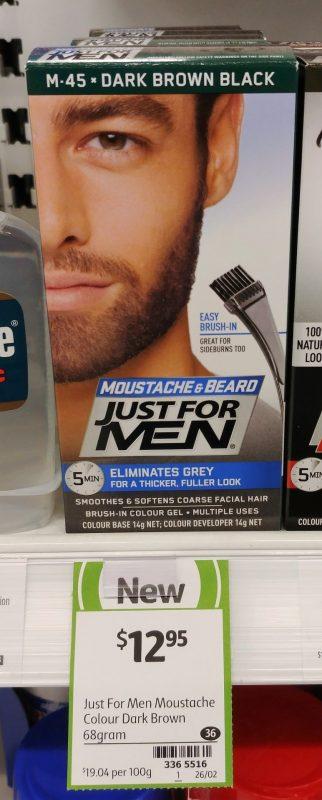 Just For Men 68g Colour Gel Moustache & Beard M 45 Dark Brown Black