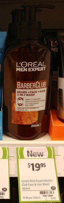 L'Oreal 200mL Men Expert Barber Club Wash Bread + Face + Hair