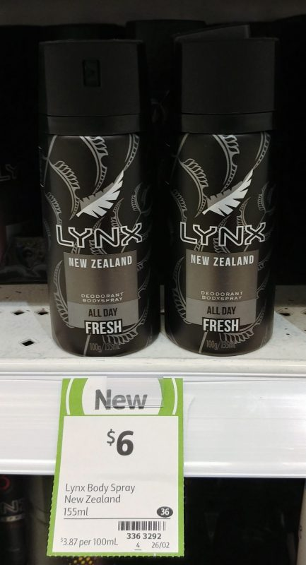 Lynx 155mL Bodyspray Deodorant New Zealand Fresh