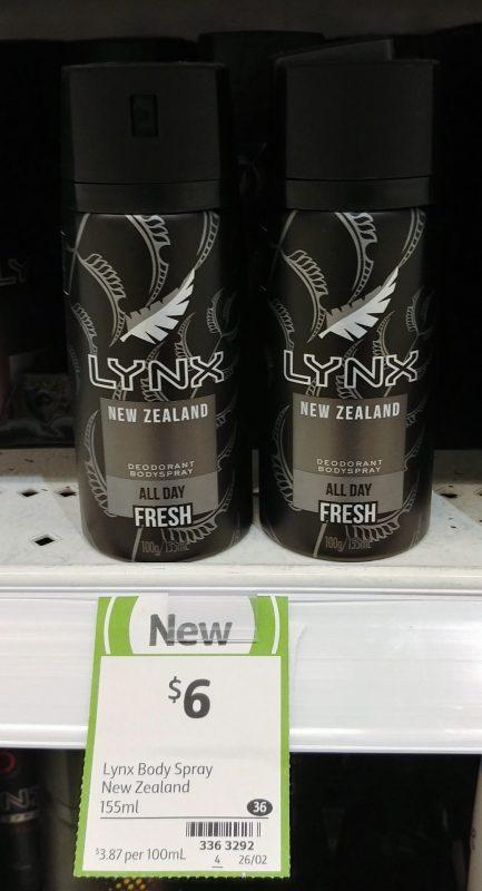 Lynx 155mL Bodyspray Deodorant New Zealand Fresh