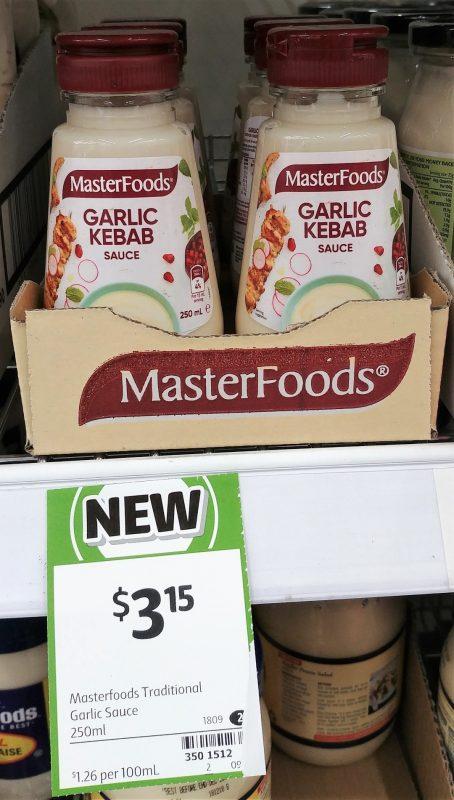 MasterFoods 250mL Sauce Garlic Kebab