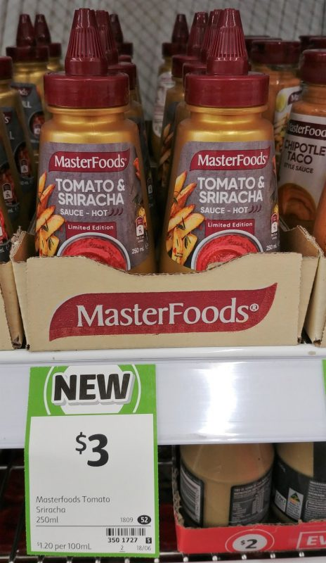 MasterFoods 250mL Sauce Hot Limited Edition Tomato & Sriracha