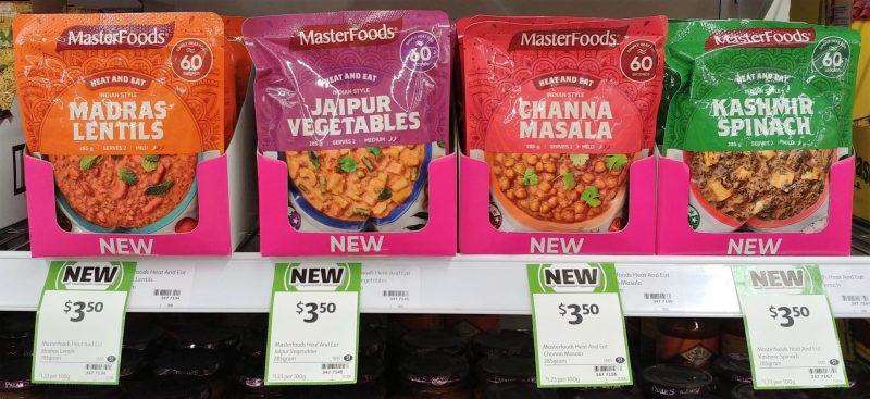 Masterfoods 285g Heat And Eat Madras Lentils, Jaipur Vegetables, Channa Masala, Kashmir Spinach