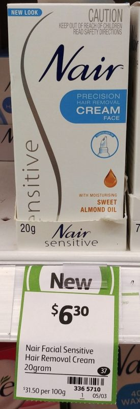 Nair 20g Sensitive Hair Removal Cream Face