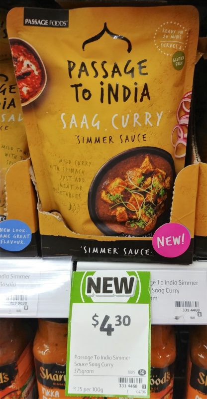 Passage Foods 375g Passage To India Simmer Sauce Curry Saag
