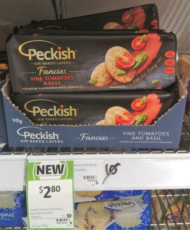 Peckish 90g Fancies Rice Crackers Vine Tomatoes & Basil