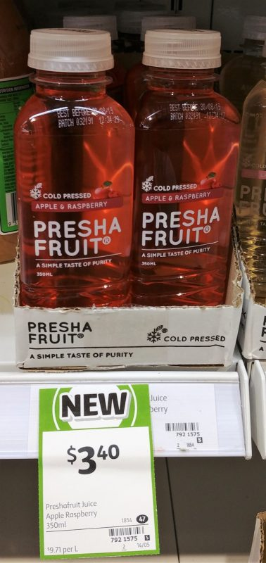 Presha Fruit 350mL Cold Pressed Apple & Raspberry