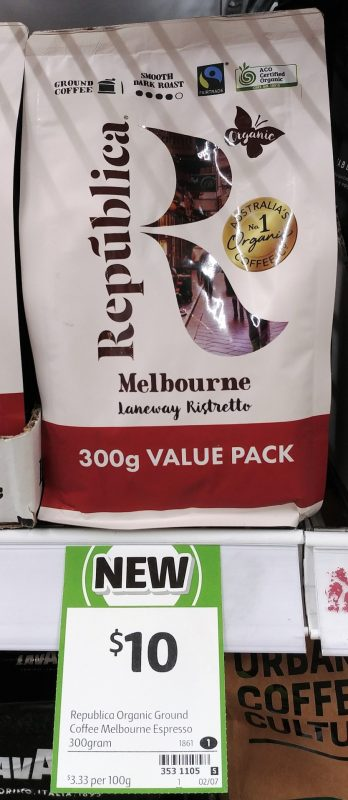 Republica 300g Coffee Ground Melbourne Laneway Ristretto