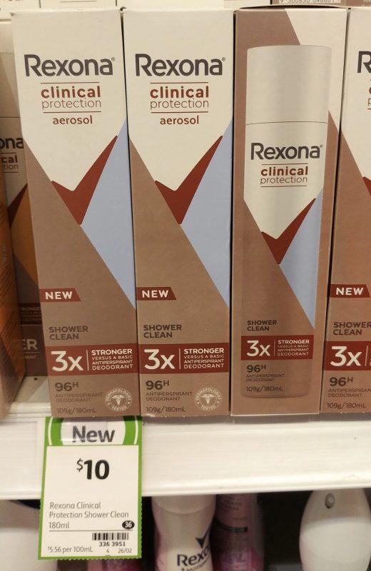 Rexona 180mL Antiperspirant Deodorant Men Clinical Protection Shower Clean