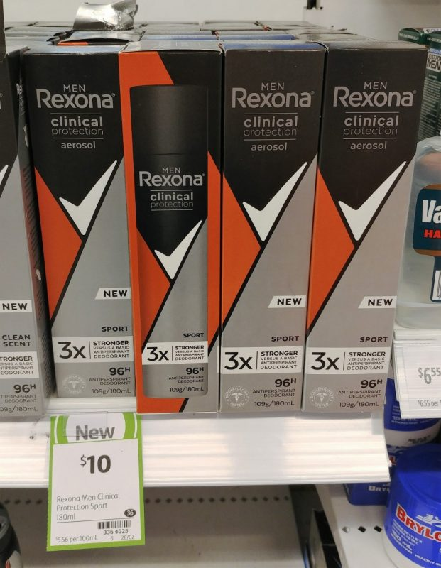 Rexona 180mL Antiperspirant Deodorant Men Clinical Protection Sport